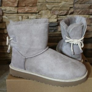 UGG SELENE Suede Shearling Bow Boots NEW!